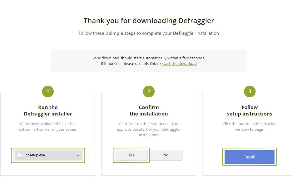 Install Defragger