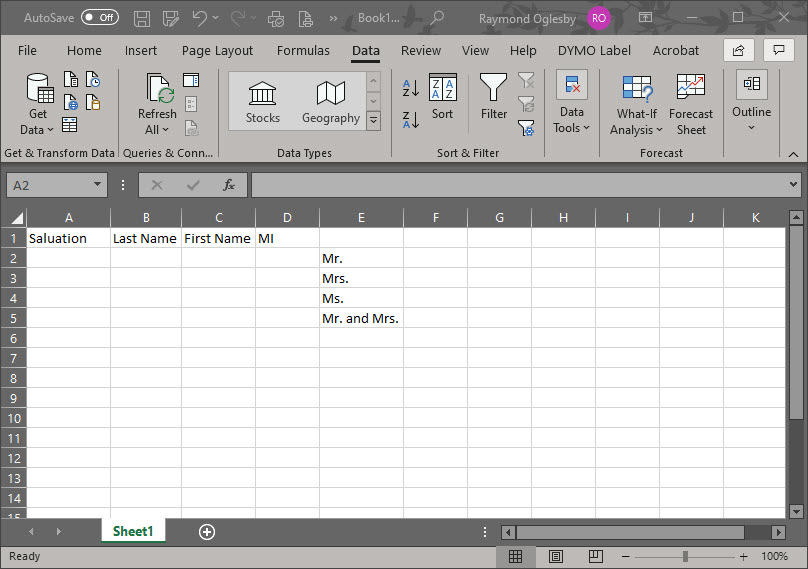 Excel Drop Down List Setup