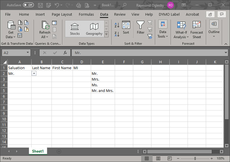 Excel Drop Down List Selected