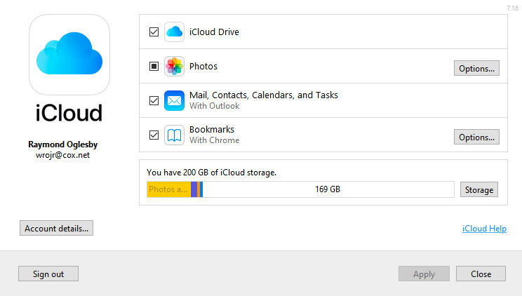Win 10 Outlook iCloud Screen