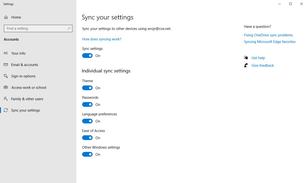 Win 10 Sync Settings