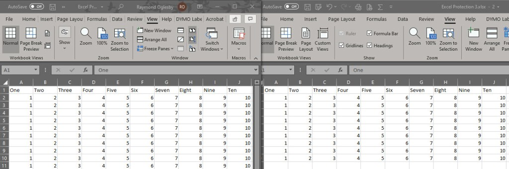 Excel Side by Side 7