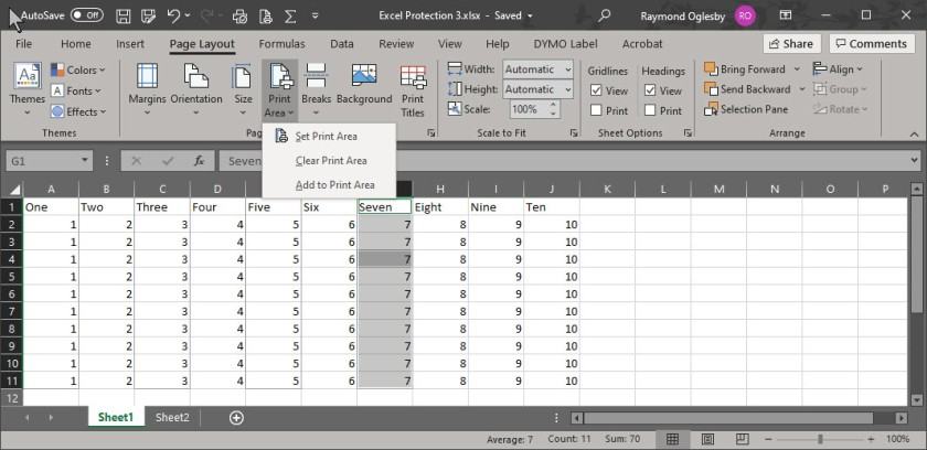 Excel Print Area 2