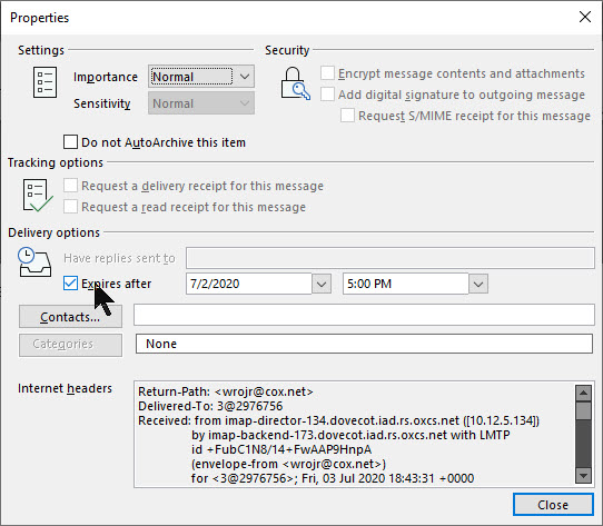Outlook Expire Date 6