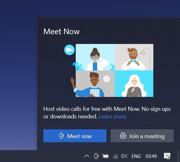 How to Disable 'Meet Now' in Windows10